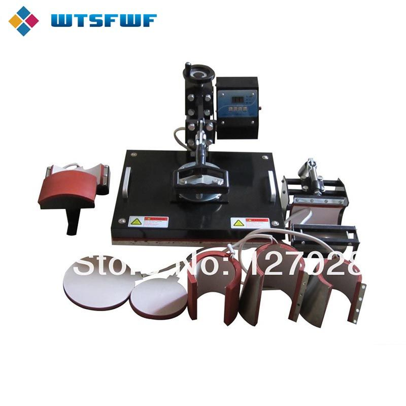 Wtsfwf Günstige 30*38 cm 8 in 1 Combo Wärme Drücken Drucker 2D Thermische Transfer Drucker für Kappe Becher platte T-shirts Druck