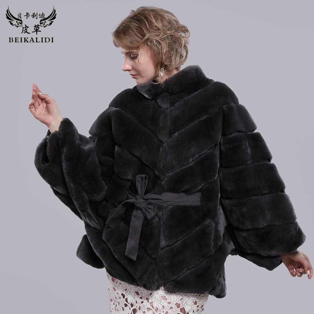 Neue Frauen Echt Rex Kaninchen Pelz Mantel Mandarin Kragen Natürliche Pelz Fledermaus Ärmel Mantel Weibliche Stehkragen Echtes Rex Kaninchen pelz Jacke