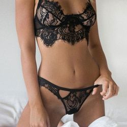 2018 lingerie Sexy Women Lingerie Lace Babydoll Underwear Nightwear Sleepwear Black White Lace Suit Wire Free G-string