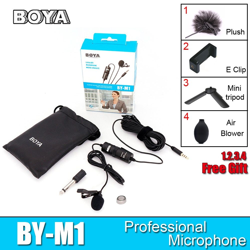 BOYA BY-M1 Lavalier Microphone BY M1 Camera Microphone Video Mic Recorder for iPhone Smartphone Canon Nikon DSLR Zoom Camcorder