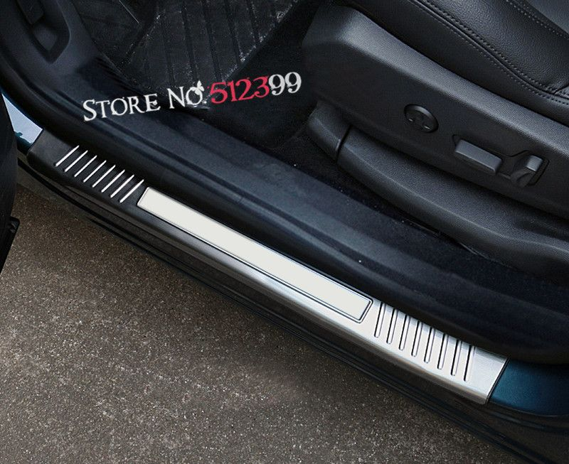 Car Styling 4 pieces/ set Stainless Steel Door Sill Scuff Plate Protector Trim Cover For Peugeot 5008 GT 2017 Accessories