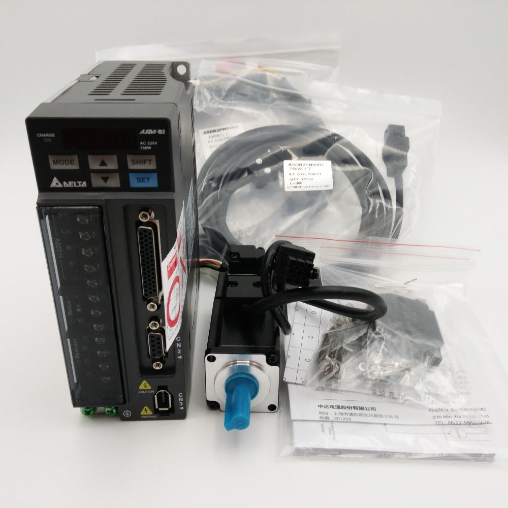 Delta CNC 100W AC Servo Motor Drive kits System 220V 0.32NM 3000RPM 40mm with Oil Seal & 3M Cable ECMA-C20401GS+ASD-B2-0121-B