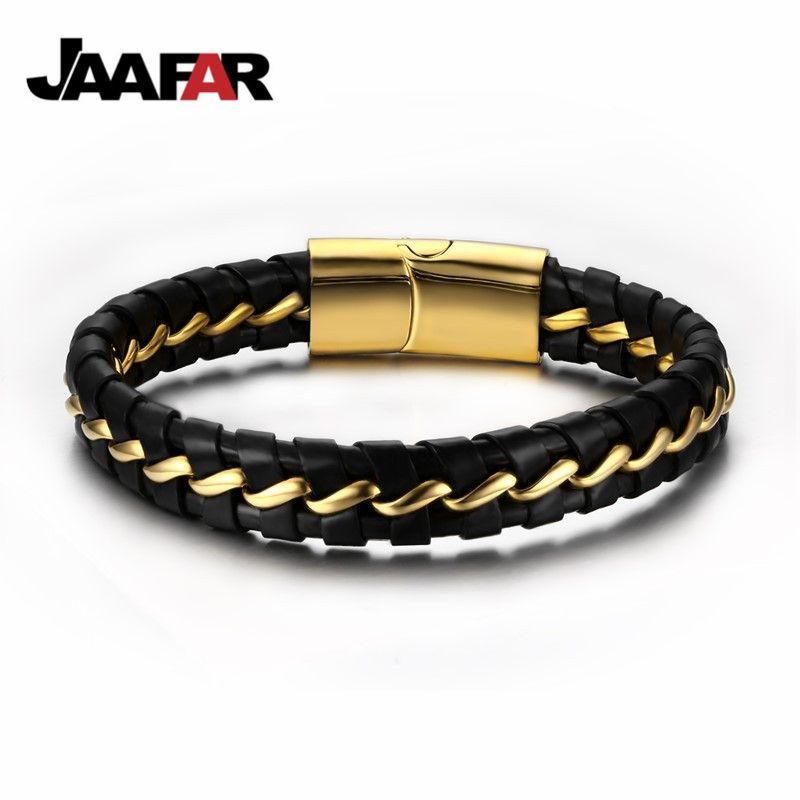 2016 nouvelle mode Bracelet noir/cuir hommes en acier inoxydable Bracelets Bracelets avec boucle magnétique