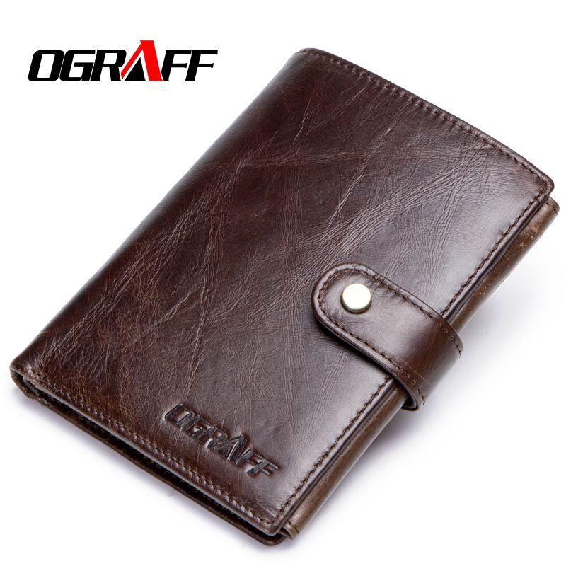 OGRAFF Short Passport Cover Men Wallets Leather Genuine Gredit Card Holder Coin Purse Money Bag Small Wallet Passport Case Wale