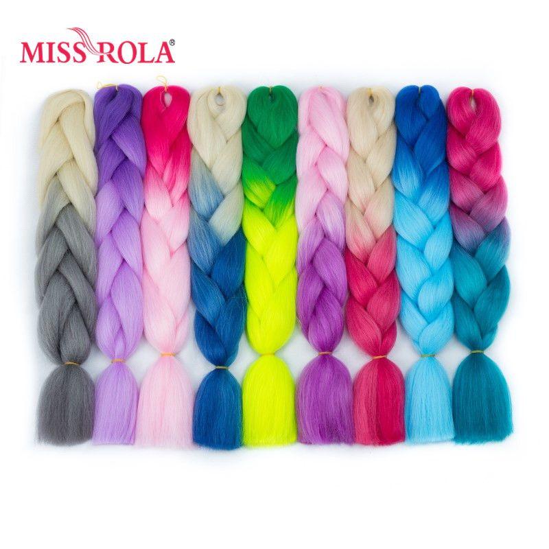Miss Rola Ombre synthétique Jumbo tressage cheveux 24 pouces haute température Fiber Crochet Jumbo tresses 100g arc-en-ciel Ombre ton couleur