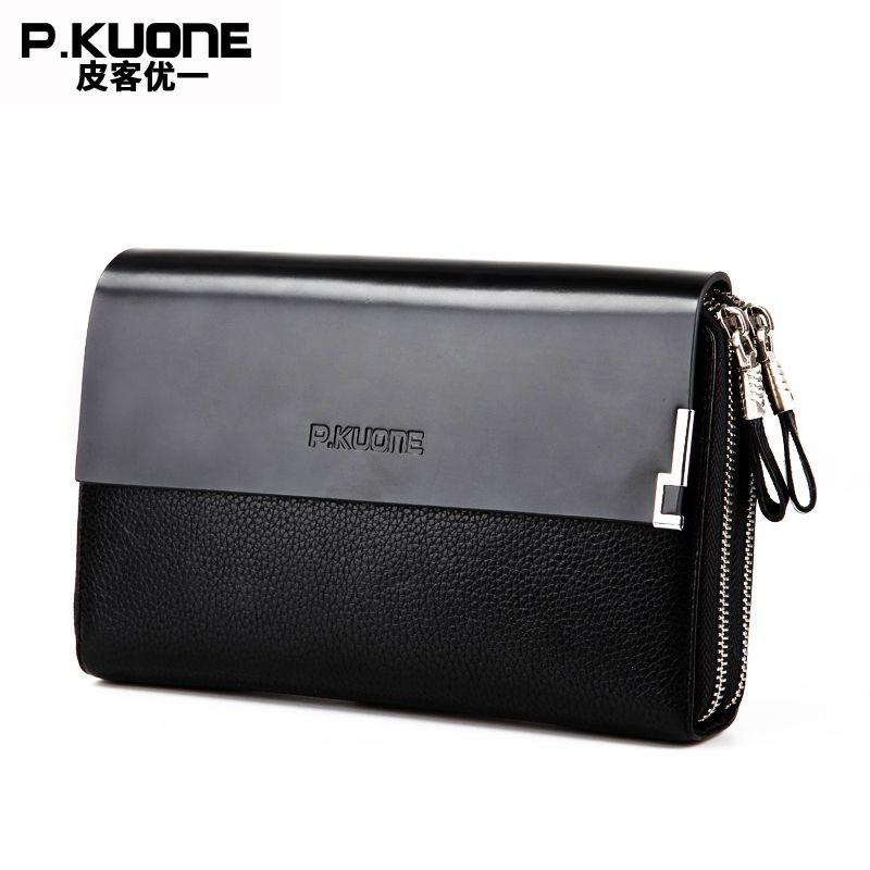 P.KUONE Genuine Leather Clutch Bag Double Zipper 2018 Fashion High Quality Wallets Luxury Brand Purse Men Handbag Card Holder