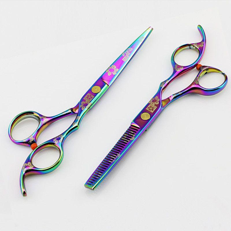 Professionnel japon 440c violet arc-en-ciel 5.5 et 6 pouces ciseaux à cheveux ensemble ciseaux de coupe amincissant outils de coiffeur ciseaux de coiffure