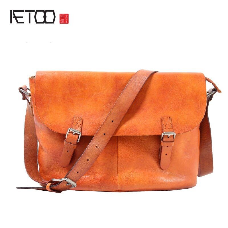 AETOO Retro Handmade Postman Pack Casual Men 's Head Cowhide Messenger Bag Leather Shoulder bag Men
