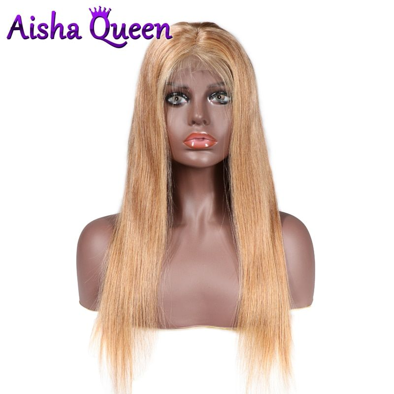 130% Density 360 Lace Frontal Wig Color 27 Straight Wigs Brazilian Remy Human Hair for Black Women Preplucked With Baby Hair