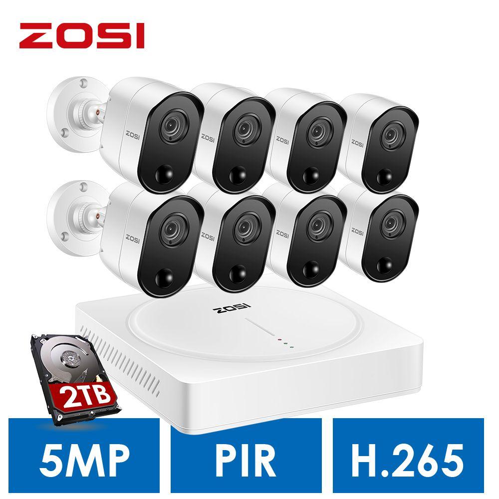 ZOSI 5MP Home Surveillance System, H.265 + 5.0MP 8CH CCTV DVR 2 TB Festplatte und (8) 5.0MP Pir Motion Sensoren Sicherheit Kameras