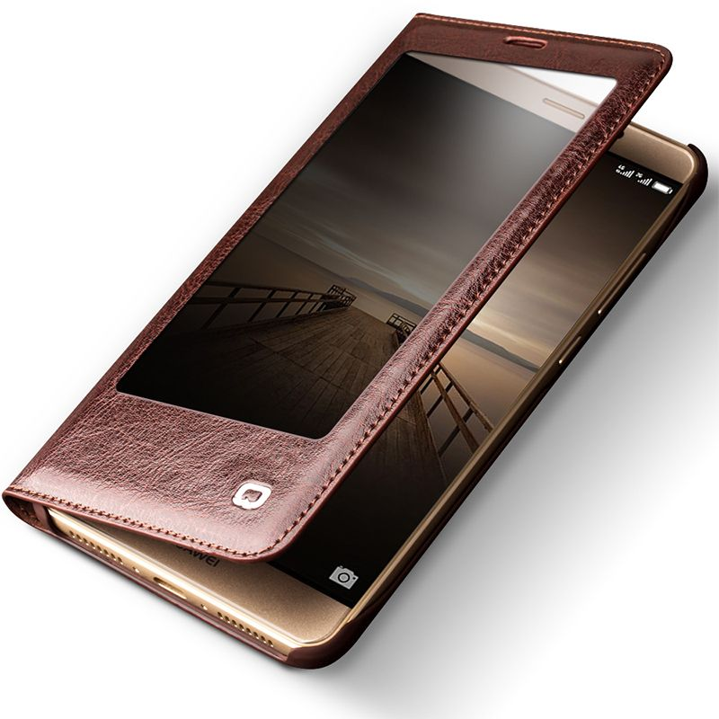 QIALINO 2016 Case for Huawei Ascend Mate 9 Hot Luxury Genuine Leather Flip Cover for Huawei Mate9 Sleep Wake Function Smart Case