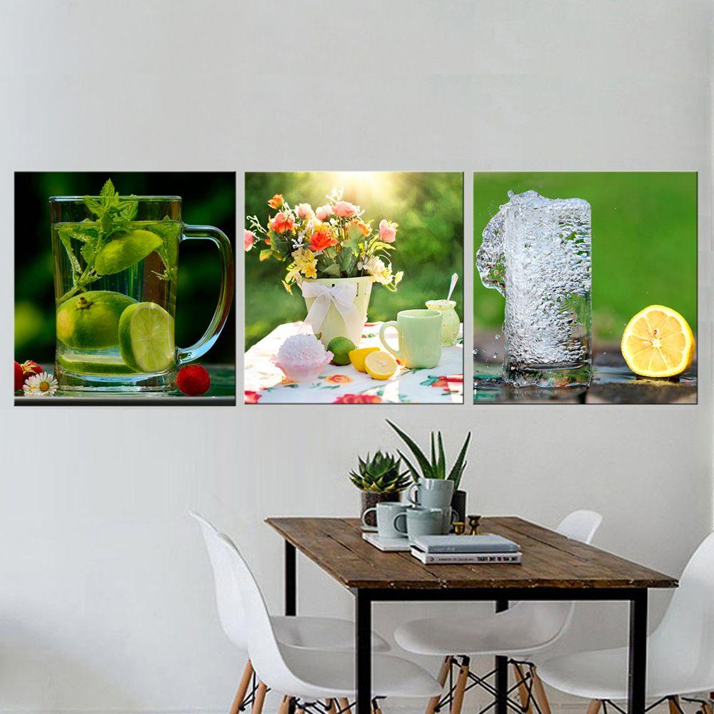 3 pcs Encore vie Citron Photos pour Toile de cuisine Imprimés mur décor moderne toile art peinture décorative photos Salle À Manger