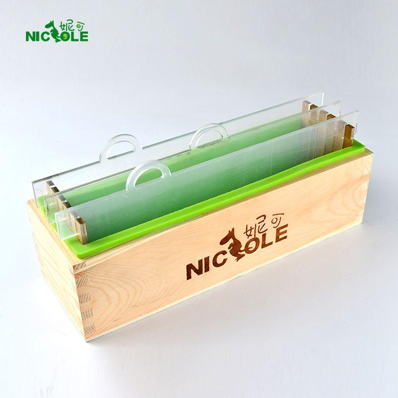 Moule à savon rectangulaire en Silicone avec boîte en bois et clins acryliques verticaux transparents pour moule à pain fait main