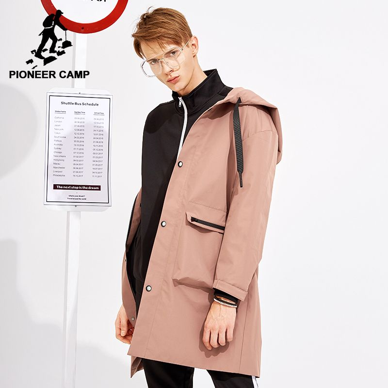 Pioneer camp neue ankunft lange trenchcoat männer koreanische stil marke kleidung mit kapuze mode männer feste trenchcoat männlichen AFY803119