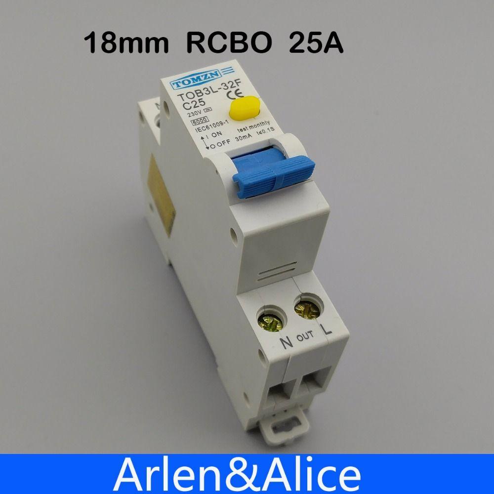 18 MM RCBO 25A 1 P + N 6KA fehlerstromschutzschalter differential automatische schutzschalter mit überstromschutz und Leckage schutz