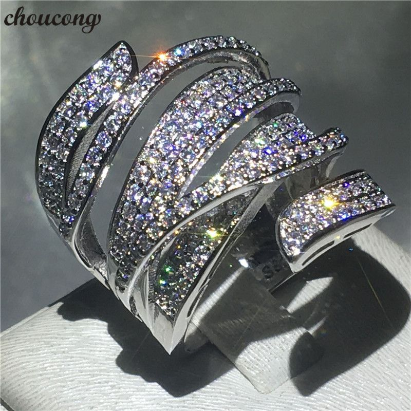 choucong Handmade Big cross Ring 5A Zircon Cz 925 Sterling Silver Engagement Wedding Band Rings for women men Finger Jewelry