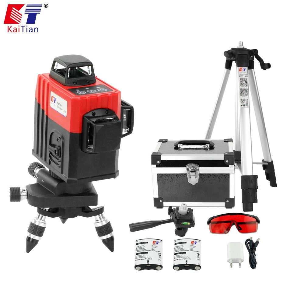 KaiTian 3D Laser Levels Battery 650nm 12 Lines Cross Level with Slash Function and Self Leveling 360 Rotary Red Laser Beam Tools
