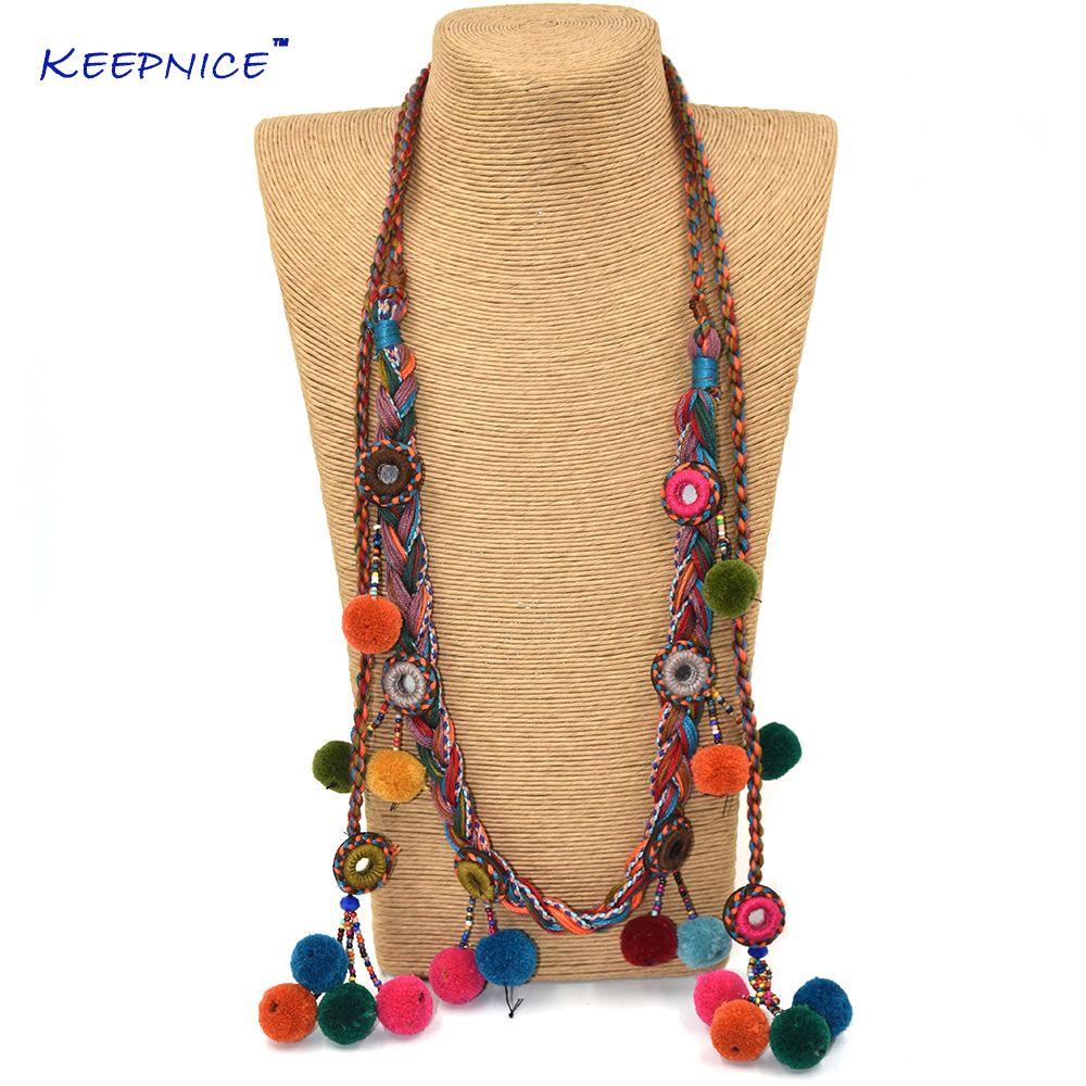 Accessoires de fête bohème pompons charme longues chaînes de perles collier fait à la main boule de velours pompon pompon Boho Maxi collier
