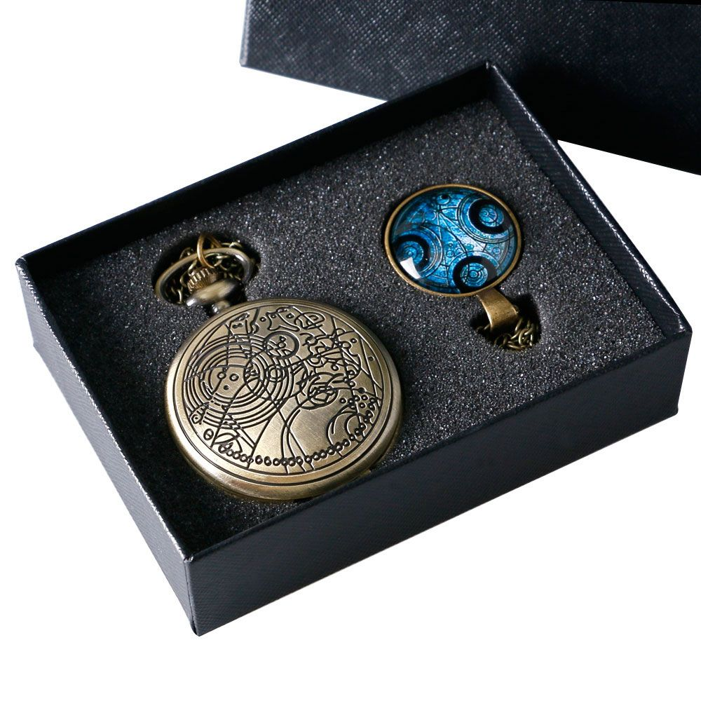 Retro Doctor Who Time Lord Seal Quartz Pocket Watch Necklace Chain Gift Box Set Women Mens Best Gift