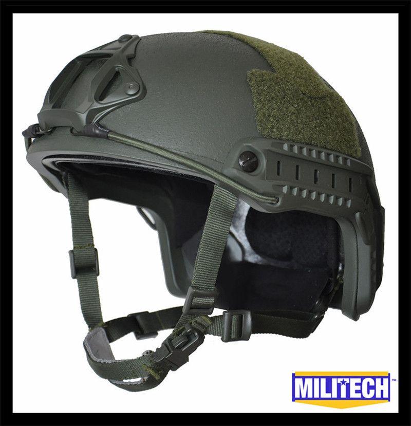 MILITECH Oliver Drab Green Deluxe Worm Dial NIJ level IIIA 3A FAST High Cut Ballistic Bulletproof Helmet With 5 Years Warranty