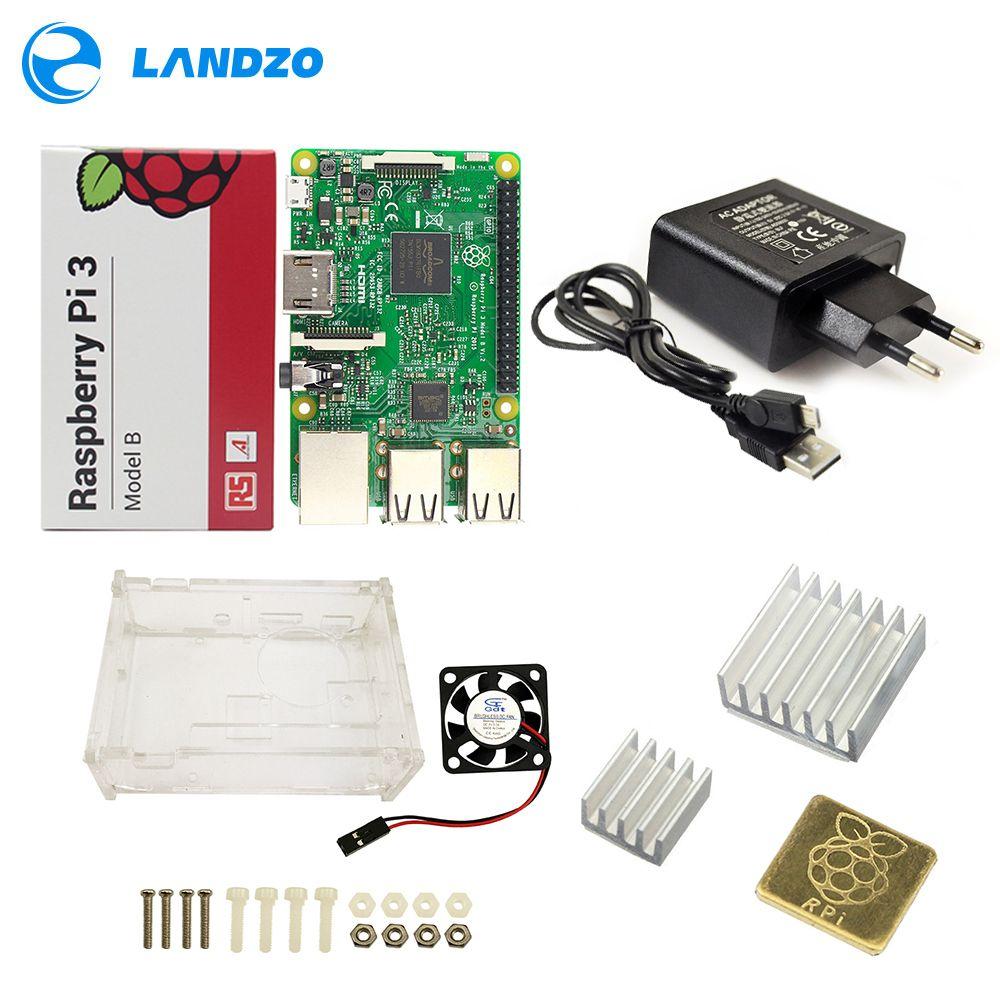 Raspberry Pi 3 Model B Starter Kit Pi 3+Acrylic Case+2.5A Power Supply +USB Cable + Fan + Heat Sink RPI 3