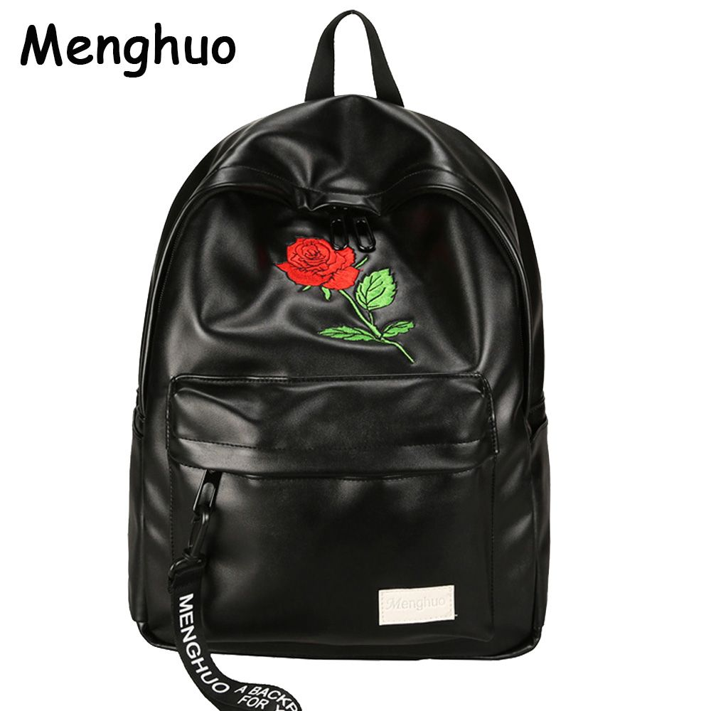 Menghuo Preppy Style School Backpack 2 Different Sizes <font><b>Lovers</b></font> Backpack Unisex PU Leather Backpack Travel Bags Teenagers Mochila