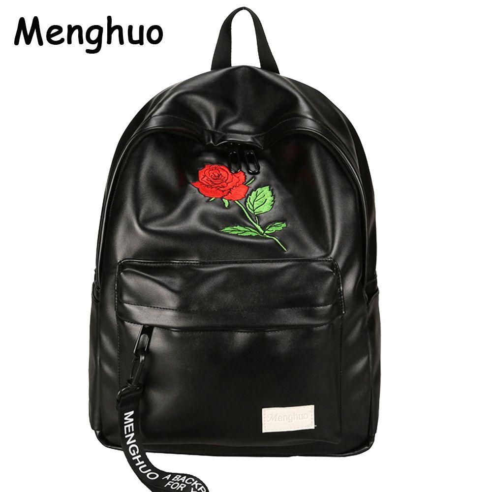 Menghuo Unisex PU Leather Backpack Women Embroidery Rose Backpack Lovers Men's Leather Backpack Travel Bag for Teenagers Mochila