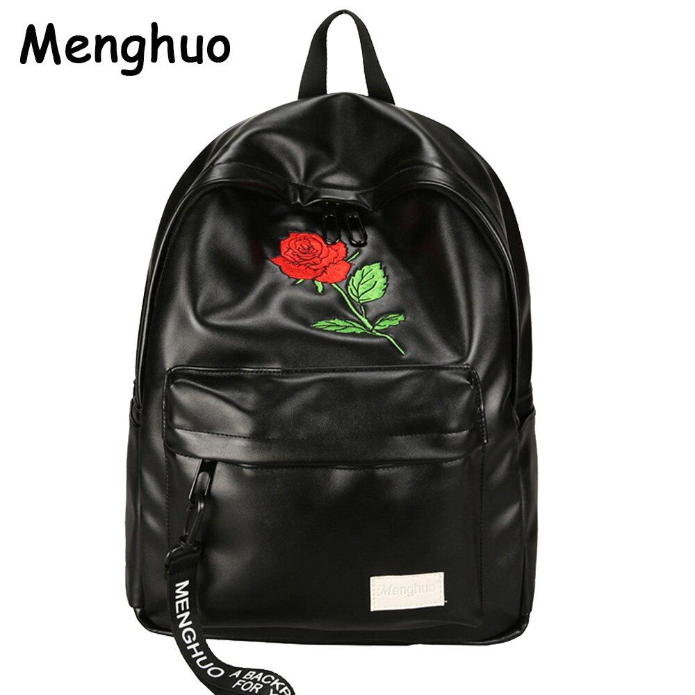 Menghuo Unisex PU Leather Backpack Women Embroidery Rose Backpack <font><b>Lovers</b></font> Men's Leather Backpack Travel Bag for Teenagers Mochila
