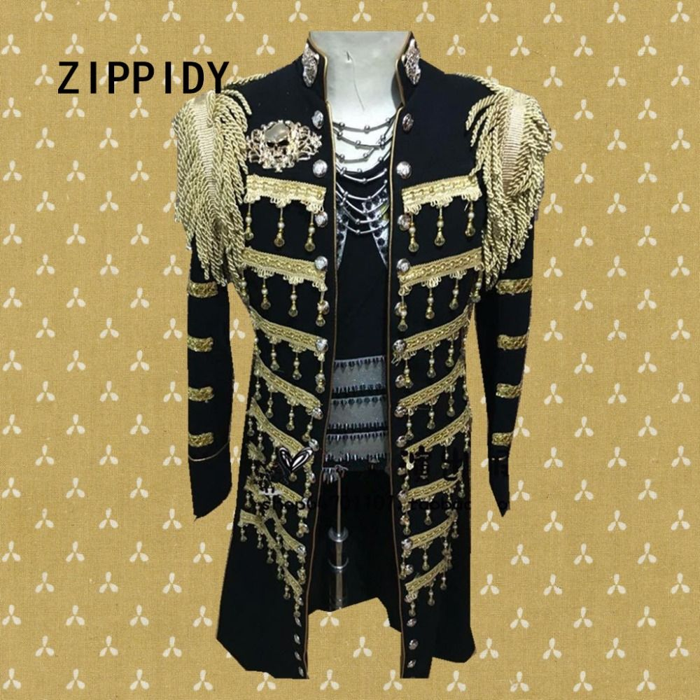 Plus size handmade Epaulet men's black Palace jacket DS dance stage wear costumes nightclub show Outerwear male singer DJ outfit