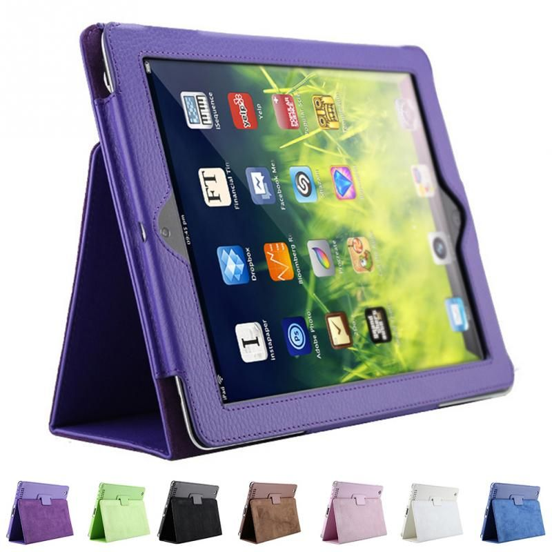 2018 PROMOTION   litchi pattern protective PU leather case For iPad 2/3/4 with Auto sleep wake up function Smart Stand Holder