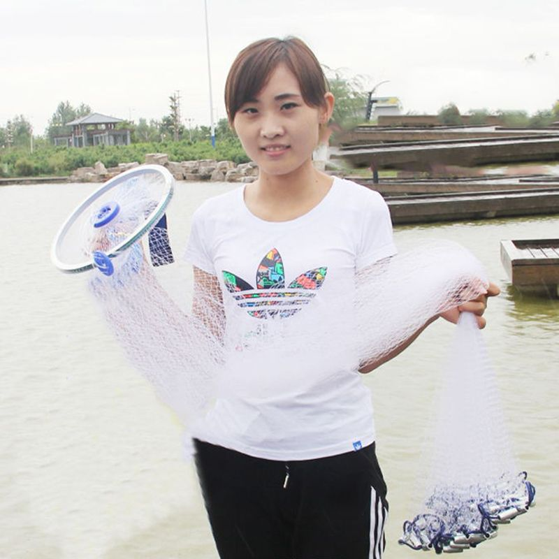 Cast Net 240-300 Lead Fishing Gill Network American Hand Throw Net iron pendant Small Mesh Sprots Fly Catch Fishing Net