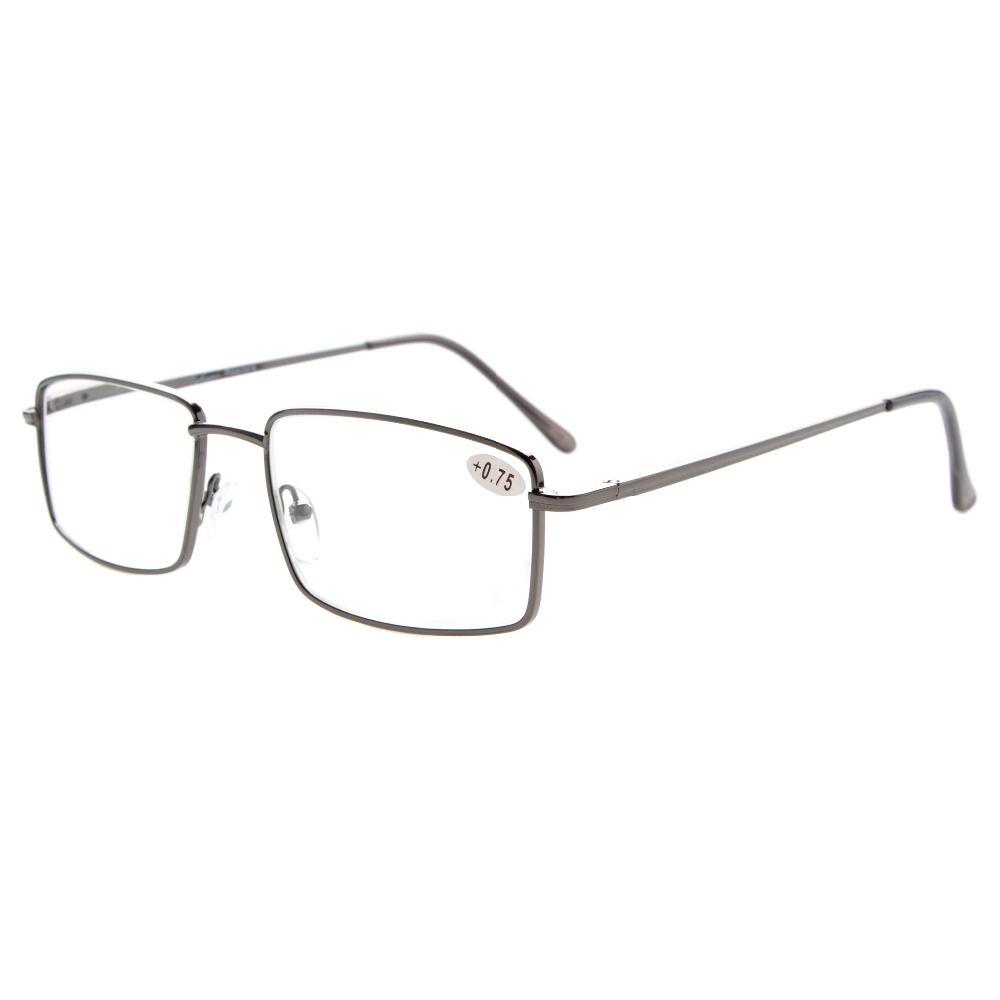 R15023 lecteurs de lunettes lunettes de lecture rectangulaires printemps Temple grandes lunettes de lecture en métal + 0.5/0.75/1/1.25/1.5/1.75/2/2.25/2.5/2.75/3/3.5/4