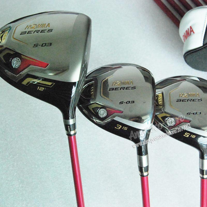 Cooyute neue frauen golf clubs honma s-03 golf holz set-treiber + 3/5 fairway hölzer graphit golfschaft holz headcover freies verschiffen