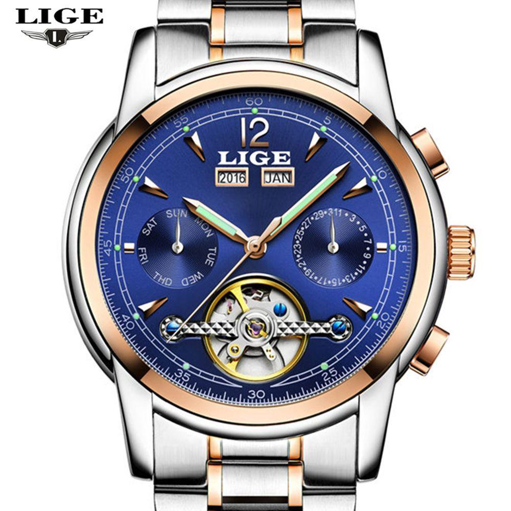 LIGE Top luxury brand male waterproof sports watch men's brand leisure tourbillon automatic mechanical Watches relogio masculino