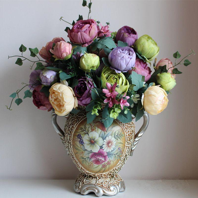 Fleurs de soie artificielle européenne 1 Bouquet pivoine festival patriarche placé fleur pour la décoration de mariage à la maison