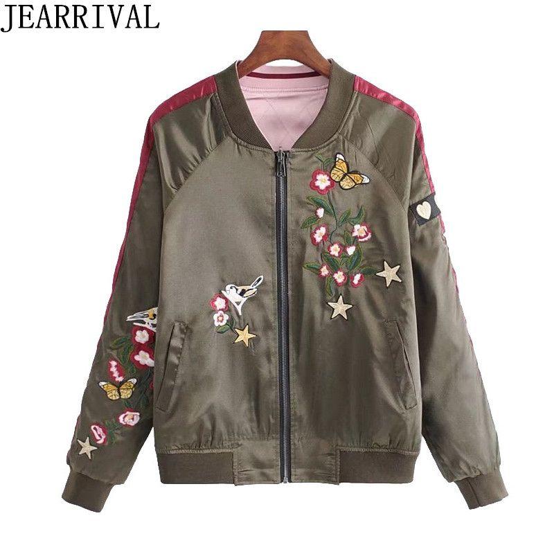 Reversible Bomber Jacket Women 2018 New Spring Coat High Street Fashion Embroidery Stand Collar Zipper Satin Baseball Jackets