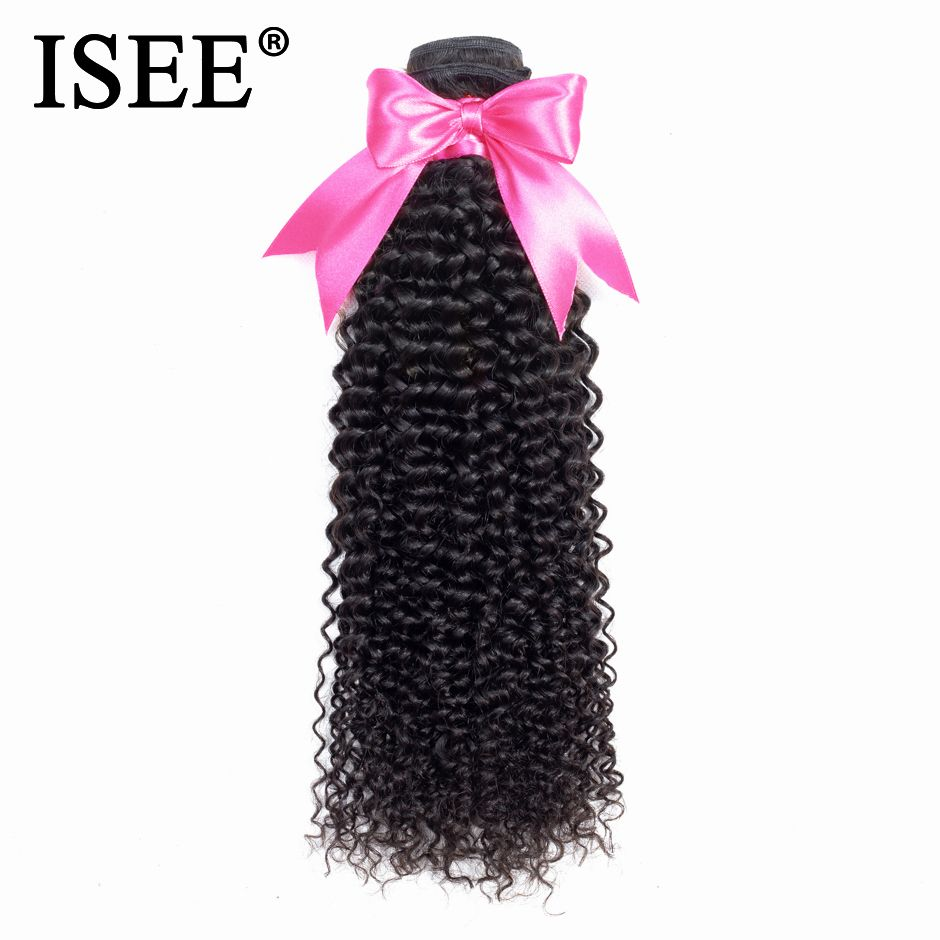 ISEE Mongolian Kinky Curly Hair Bundles Remy Human Hair Extensions Machine Double Weft 1/4/3 Bundles Hair Weaves Nature Color