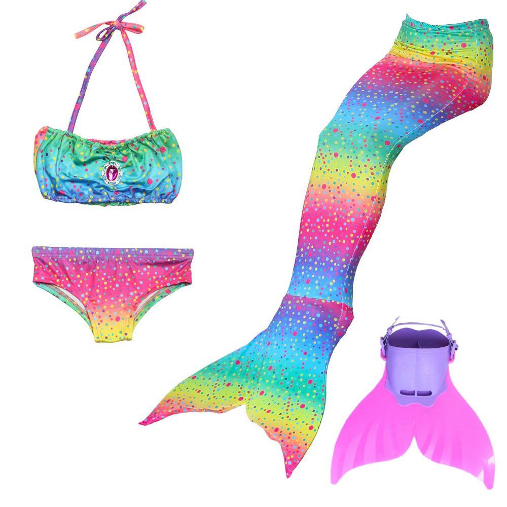 2018 Children Mermaid Tail with Monofin Kids Girls Costumes Swimming Mermaid Tail Mermaid Swimsuit Flipper for girls