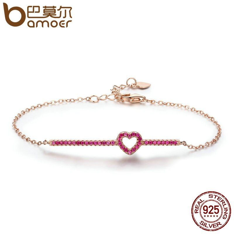 BAMOER 100% 925 Sterling Silver Rose Gold Touching Love Heart Chain Link Women Lobster Clasp Bracelet Jewelry Adjustable SCB048