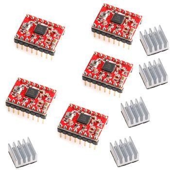5 Pcs A4988 StepStick Stepper Driver + Radiateur pour Reprap Pololu 3D Imprimante Rouge W312
