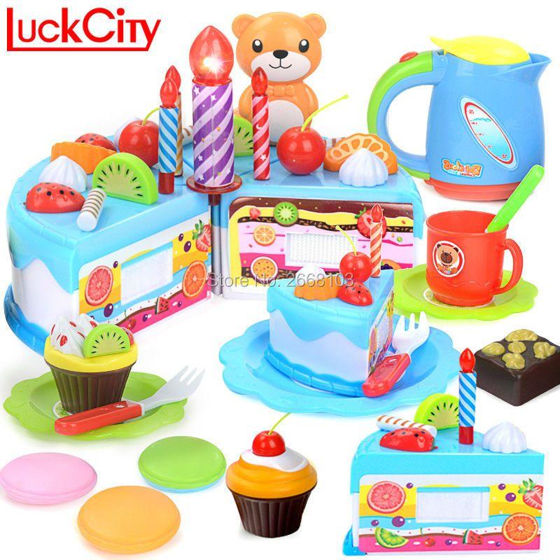 55 pcs DIY Cuisine Éducatifs Miniature Gâteau Jouets Cut Jeux de simulation Alimentaire De Coupe D'anniversaire Pour Enfants Enfants Jouets en plastique Pour gâteaux cadeau