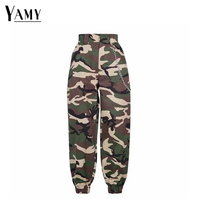 2018 new high waist cargo pants women camouflage sweatpants joggers chain camo pants girls cargo trousers with chain streetwear