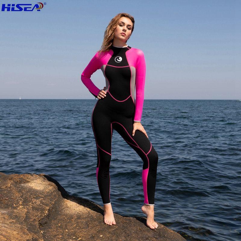 Hisea Femmes 3mm Qualité Néoprène Professionnel d'une Seule pièce Combinaisons Thermique Plongée Plongée Chasse Sous-Marine Surf Mince Plein Body