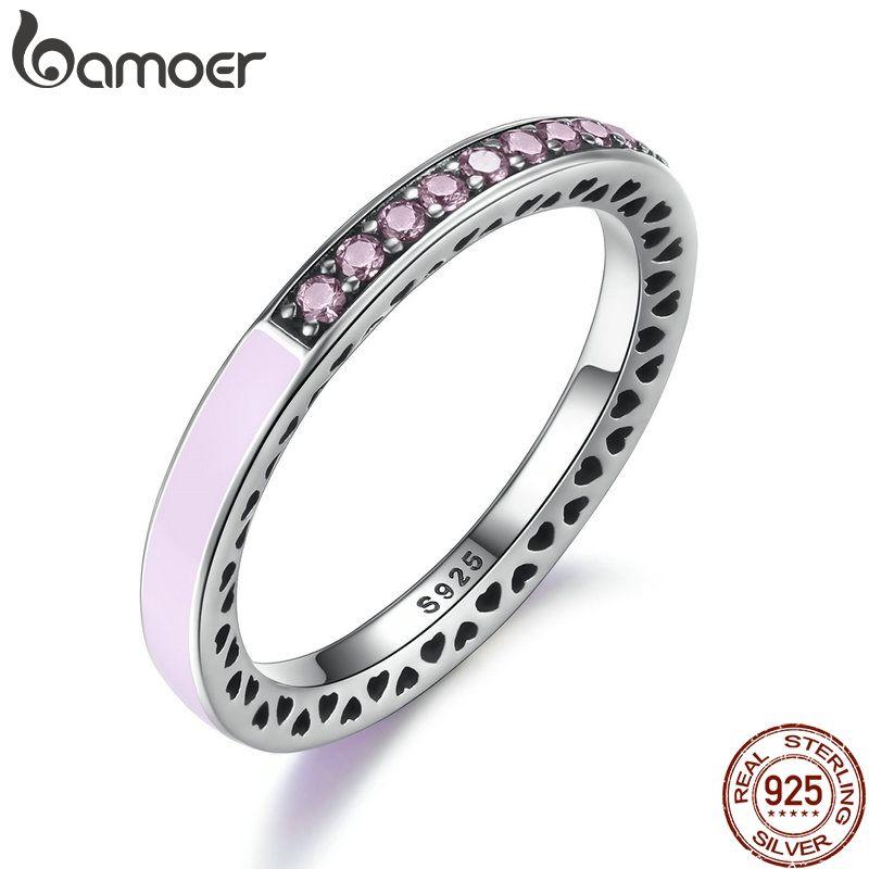 BAMOER 100% 925 Sterling Silver Radiant Hearts Light Rose Émail & Clear CZ Bague Femmes Mère Cadeau Bijoux PA7603