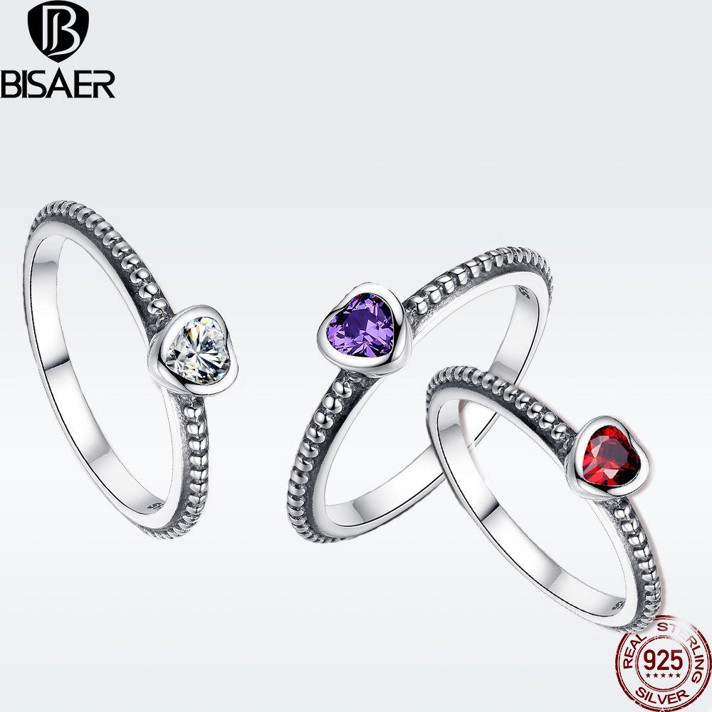 BISAER 3 Farben Ring Authentische 925 Sterling Silber Ring Original Liebe Herz Hochzeit Band Finger Ring Sterling Silber Schmuck