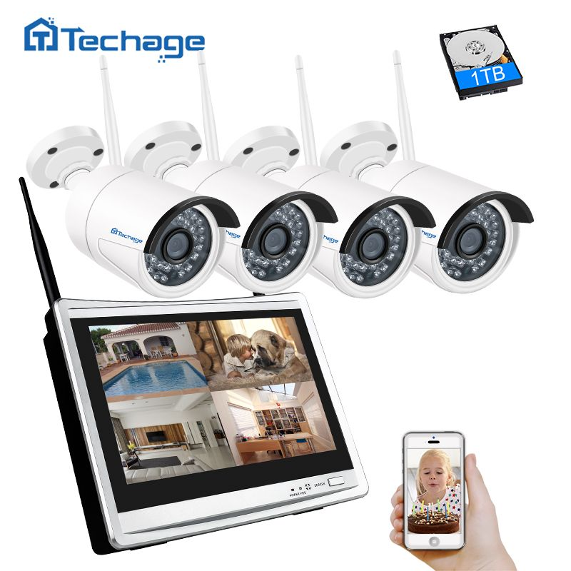 Techage 4CH 1080P 12 inch LCD NVR Wireless CCTV Security System 960P 1.3MP Outdoor Wifi IP Camera P2P Video Surveillance Kit