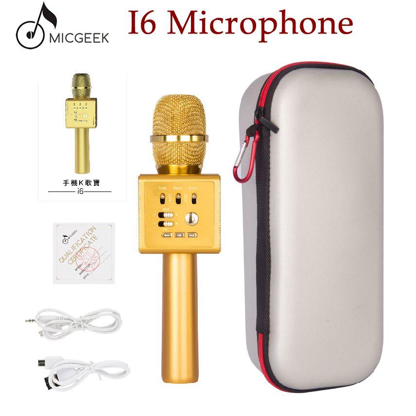 Original Micgeek I6 Wireless Karaoke Microphone Bluetooth KTV Professional Voice Change Dual Speaker Metal Microphones