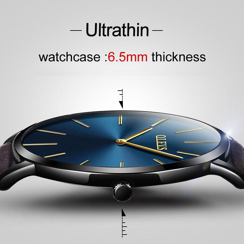 2018 OLEVS Marque Ultra mince Montre Casual Pour Hommes Sport Montres Hommes Étanche En Cuir Mince Quartz Horloge Relogio Masculino