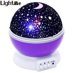 Lightme llevaron Estrellas Proyector de Cielo Estrellado de Luz LED LLEVÓ la Lámpara De La Luna Batería USB Lámpara de Mesa de Noche de la novedad Luz de La Noche Para Los Niños Regalos