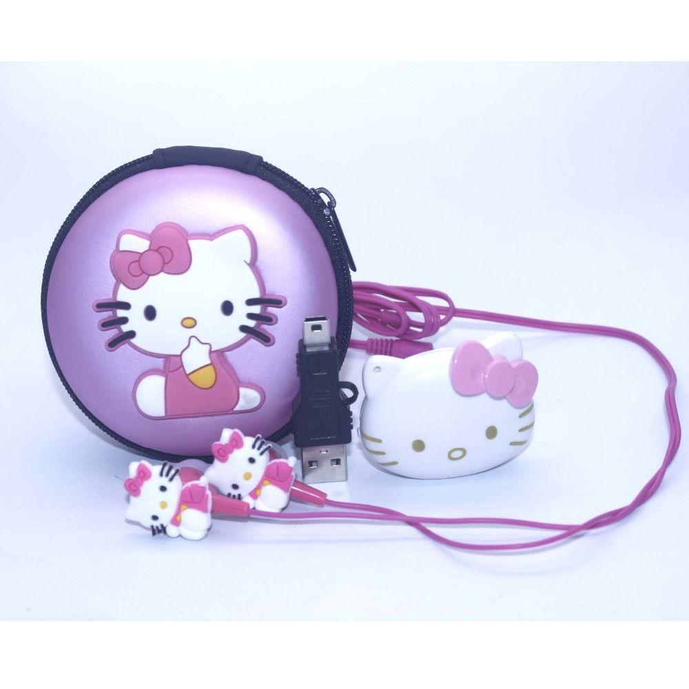 1 teile/los hohe qualität hello kitty mp3 musik-player clip mp3-player unterstützung tf-karte mit kopfhörer mini usb tasche